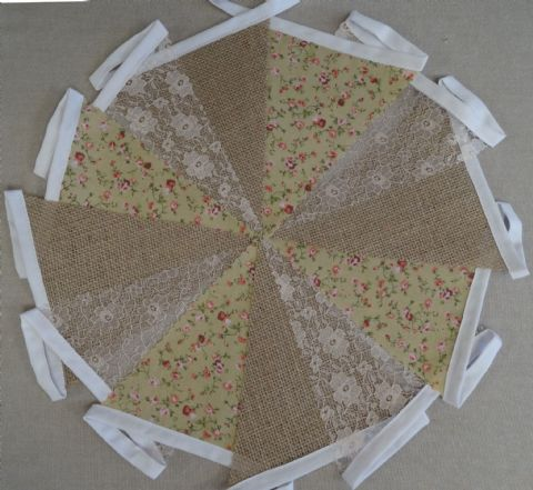 BUNTING - Hessian Burlap, Red & Beige Floral & Peach Lace - 3m or 10m